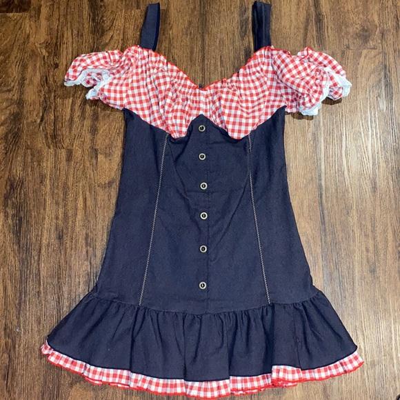 Leg Avenue Denim Red/White checkered costume dress